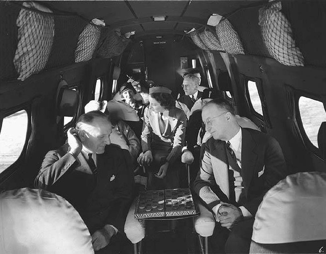 Interior passenger seating area of a Boeing 247 airplane