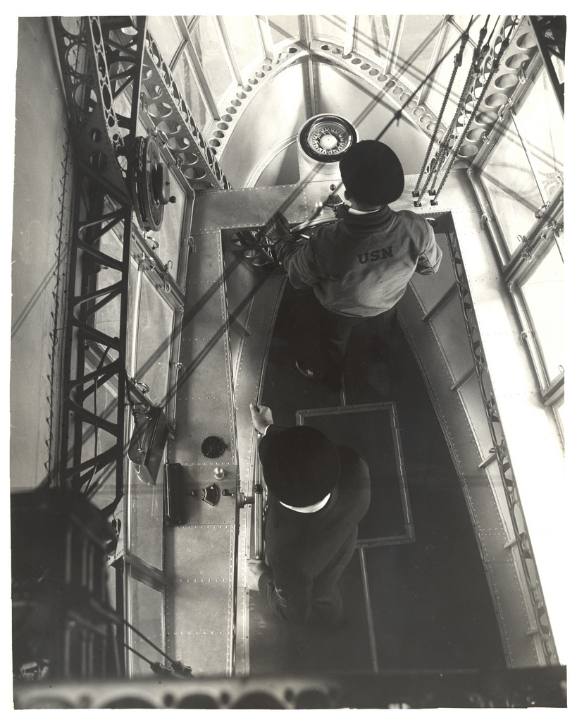Photograph Looking Down in Emergency Control Station of a Dirigible , ca. 1933
