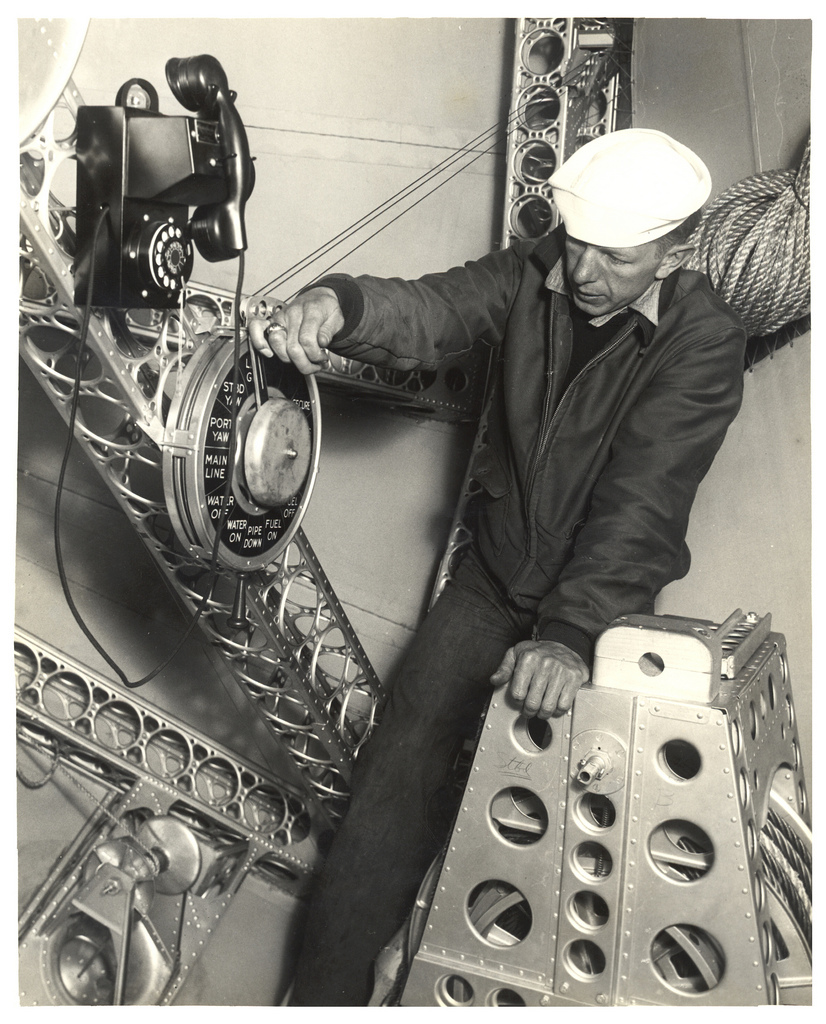Photograph of a Sailor at the Bow Mooring Post on a Dirigible, ca. 1933