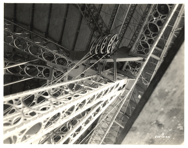 Photograph of Control Wires and Pulleys on a Dirigible, ca. 1933