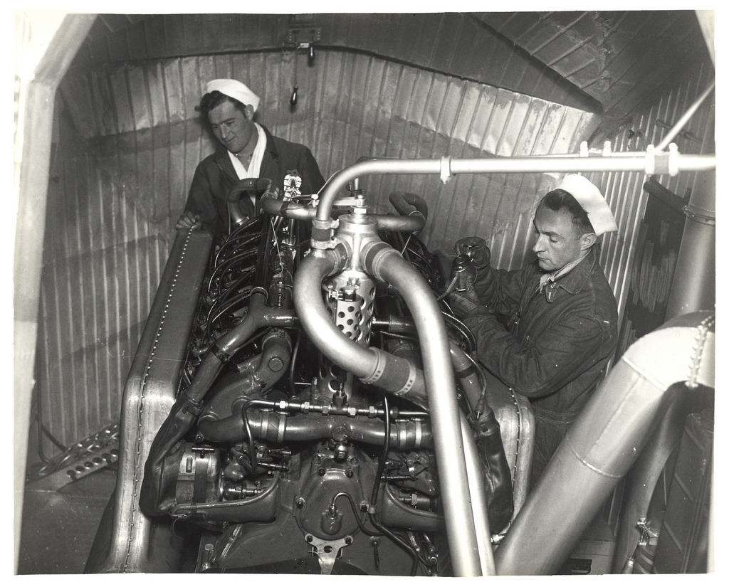 Photograph of Engine Room in a Dirigible, ca. 1933