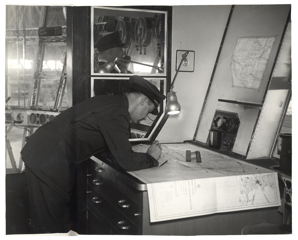 Photograph of Navigation Room in a Dirigible, ca. 1933