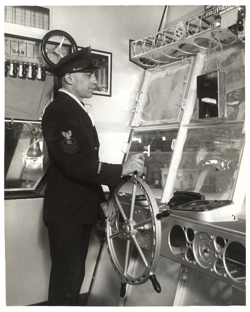 Photograph of the Left Side of the Control Car on a Dirigible, ca. 1933