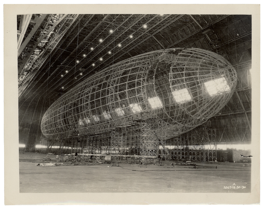 Photograph of the Nose of the USS Akron being Attached, ca. 1933