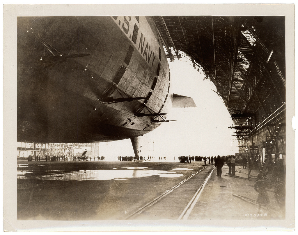 Photograph of the USS Akron in the Goodyear-Zeppelin Dock , ca. 1933
