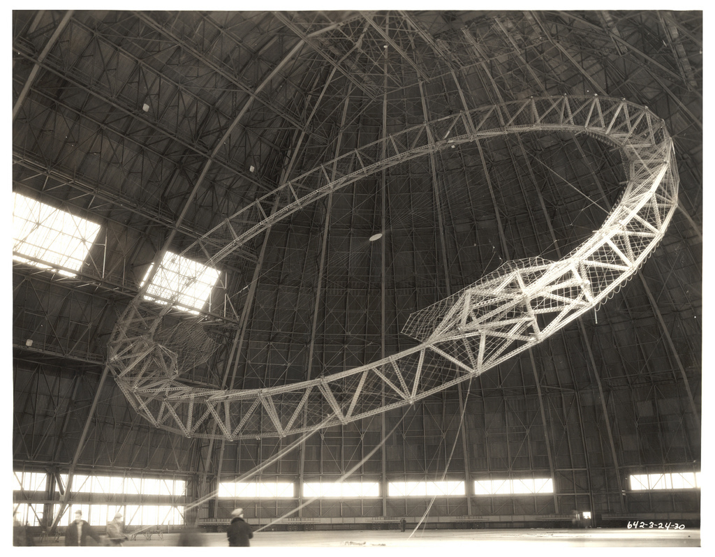 Photograph Rising the First Main Frame of a Dirigible, ca. 1933