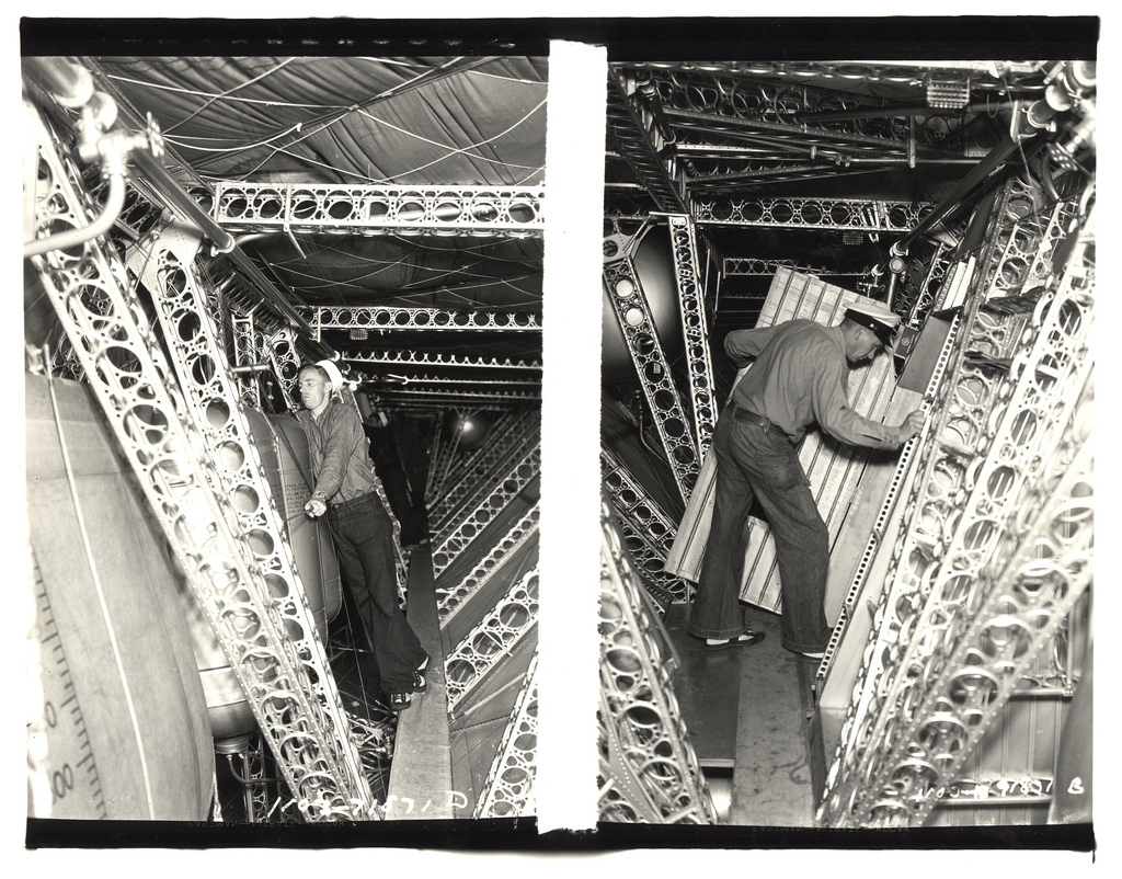 Two Photograph of the Catwalk on the USS Akron, ca. 1933
