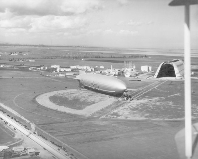 Navy USS Macon moored at south circle prior to flight NAS Sunnyvale, CA ARC-1969-A91-0261-19