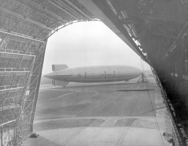 Navy USS Macon Moored at south circle, Mt. View from inside Hanger 1 ARC-1969-A91-0261-20