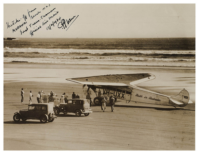 Faith in Australia on the beach at Murawai [Muriwai] ready for take-off with First Official Airmail from N.Z. to Australia, 17 Feb 1934