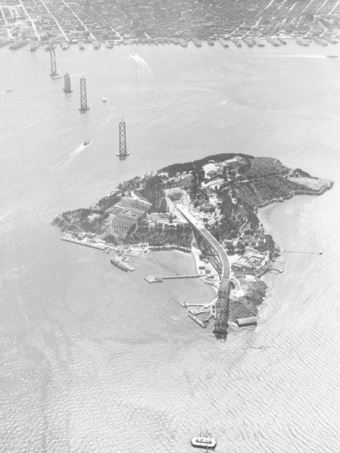 Navy Aerial of San Francisco Bay, California; Yerba Buena Island (Treasure Island) showing construction of San Francisco Bay Bridge ARC-1935-A93-0075-6