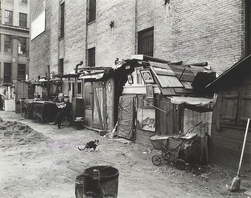 Unemployed and huts, West Houston -- Mercer St., Manhattan.