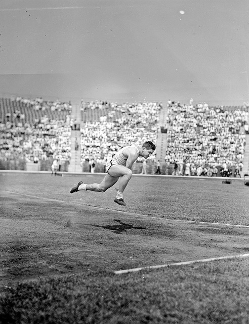[Athlete in the javelin throw competition at the 1936 Randall's Island Olympic trials, New York, NY]