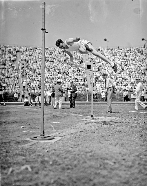 [Athlete knocking down the high jump bar at the 1936 Randall's Island Olympic trials, New York, NY]