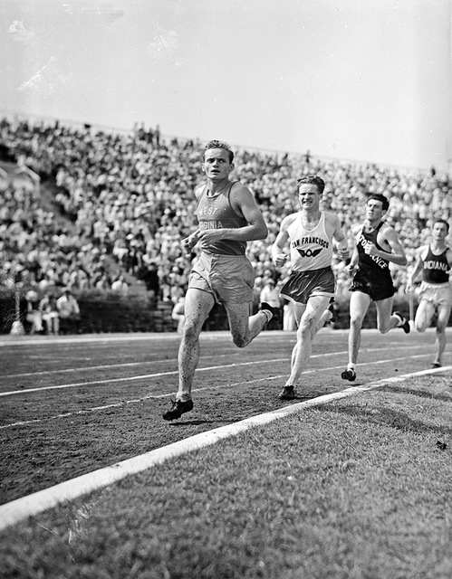 [Barney Gedwillas, Norman Bright, Louis Zamperini and Tom Deckard in the 5000 meter race at the 1936 Randall's Island Olympic trials, New York, NY]