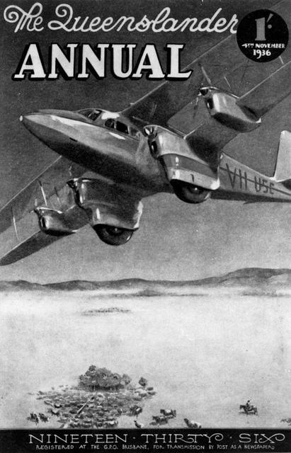 Cover of The Queenslander Annual featuring a De Havilland DH86A, 1936