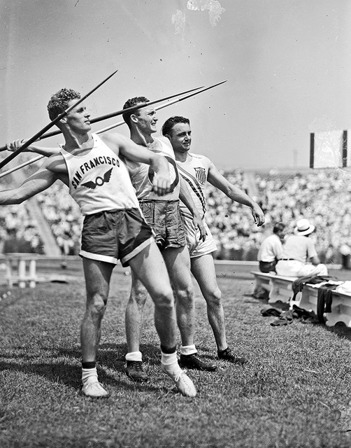 [Javelin throwers at the 1936 Randall's Island Olympic trials, New York, NY]