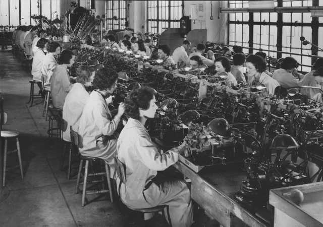 [Women working in the Pinion Department at Bulova Watch]