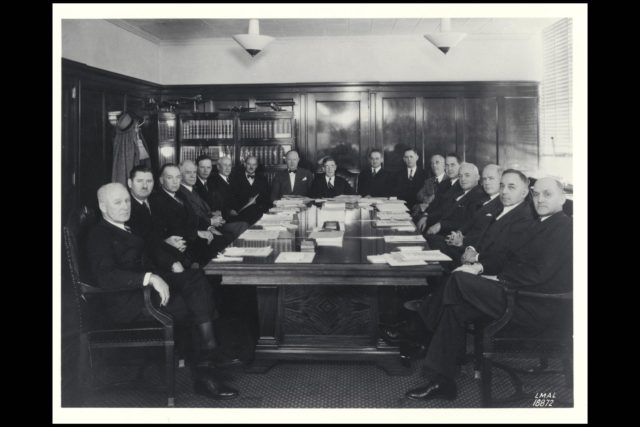 Langley Photographer NACA Annual Committee meeting:  All Members present - including C Abbot, Arnold, Briggs, Bush, Hester and  Lindbergh Ref: Langley No. LMAL-188872 ARC-1939-A85-0125