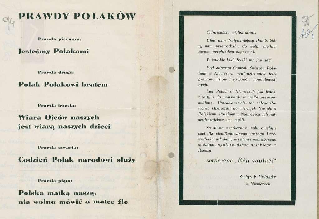 Ulotka Zwiazku Polakow w Niemczech w zwiazku ze smiercia Boleslawa Domanskiego