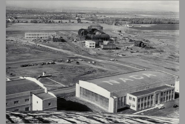 Date: Nov 9, 1940 Aerial view of Ames Aeronautical Laboratory showing Flight Research Lab and Construction of 16ft wind tunnel ARC-1969-M-921
