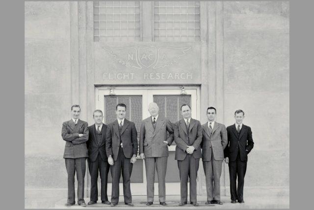 Dr George W. Lewis, NACA Director of Aeronautical Research  (1929-1947) first visit to Ames Lab:  L-R; John Parsons, William Mc Avoy, Donald H. Wood,  Dr. Lewis, S. J. DeFrance, Author B. Freeman, Carlton Bioletti ARC-1969-M-926