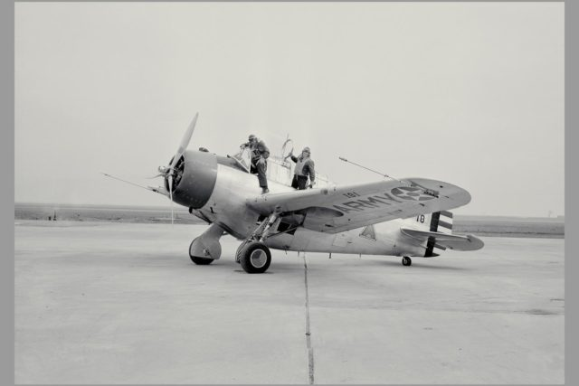 W.H. MCAVOY AMES TEST PILOT RETURNING FROM AN EARLY FLIGHT OF FIRST TEST AIRPLANE AT AMES, A NORTH AMERICAN O-47 ARC-1998-M-925-1