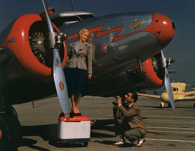 [Alice Faye and Photographer with Lockheed 12A Electra Junior]