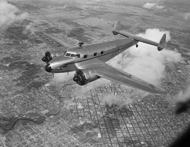 [Lockheed 12A Electra Junior in Flight over Houston]