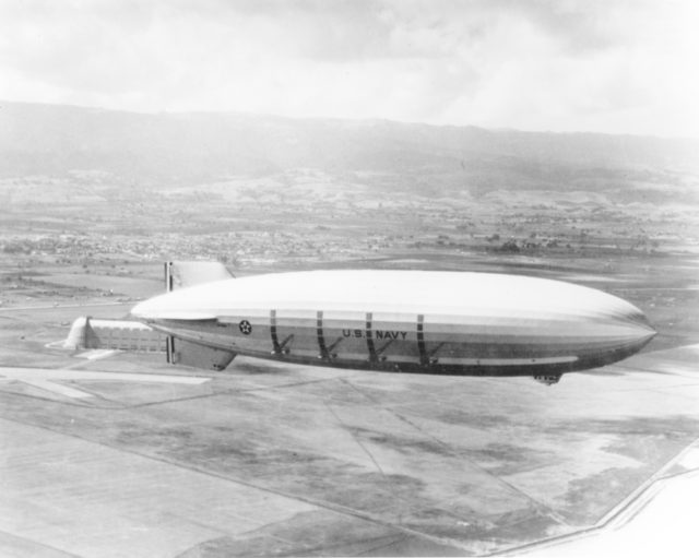 us navy airship over moffett field sunnyvale ca
