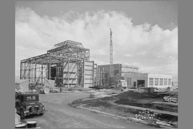 NACA Photographer 7x10ft Wind Tunnel and Lab #2 construction at the Ames Research Center, California ARC-1941-AAL-1246