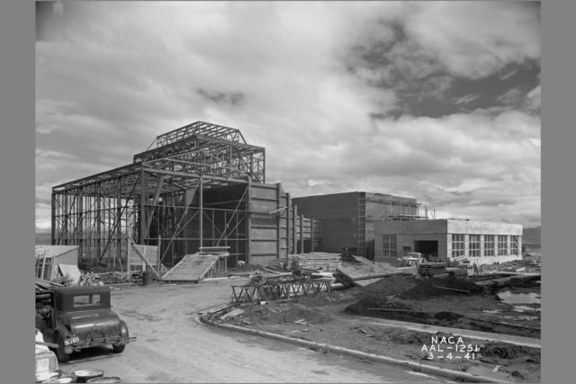 NACA Photographer Construction of the 7x10ft Wind Tunnel and Lab #2 at the Ames Research Center, California ARC-1941-AAL-1251