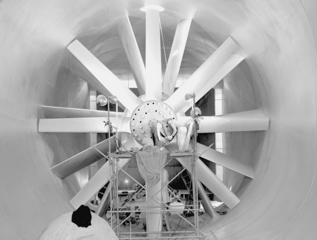 NACA Photographer installng propeller blades in 7x10ft#1 w.t.  N-215 ARC-1941-AAL-1253
