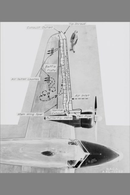 NACA Photographer NASA Ames De-icing project: diagram of the systems using exhaust-heated air to prevent icing on the Lockheed 12A wings  Published: Adventures in Research SP-4302 ARC-1941-AAL-1352