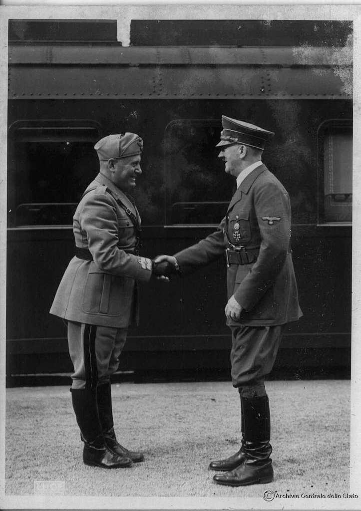 Hitler and Mussolini meet in August 1941