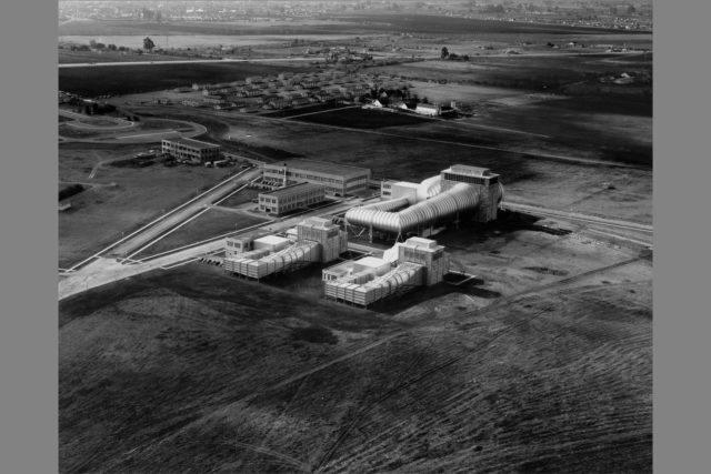 NACA Ames Aeronautical Laboratory aerial; 16ft, 7X10ft#1, 7x10ft#2 wind tunnels, Technical Services Bldg N-220, Utilities later Electrical Services Bldg N-219 and construction on the Science Laboratory, later Engineering Services Bldg N-203 ARC-1941-AAL-1731
