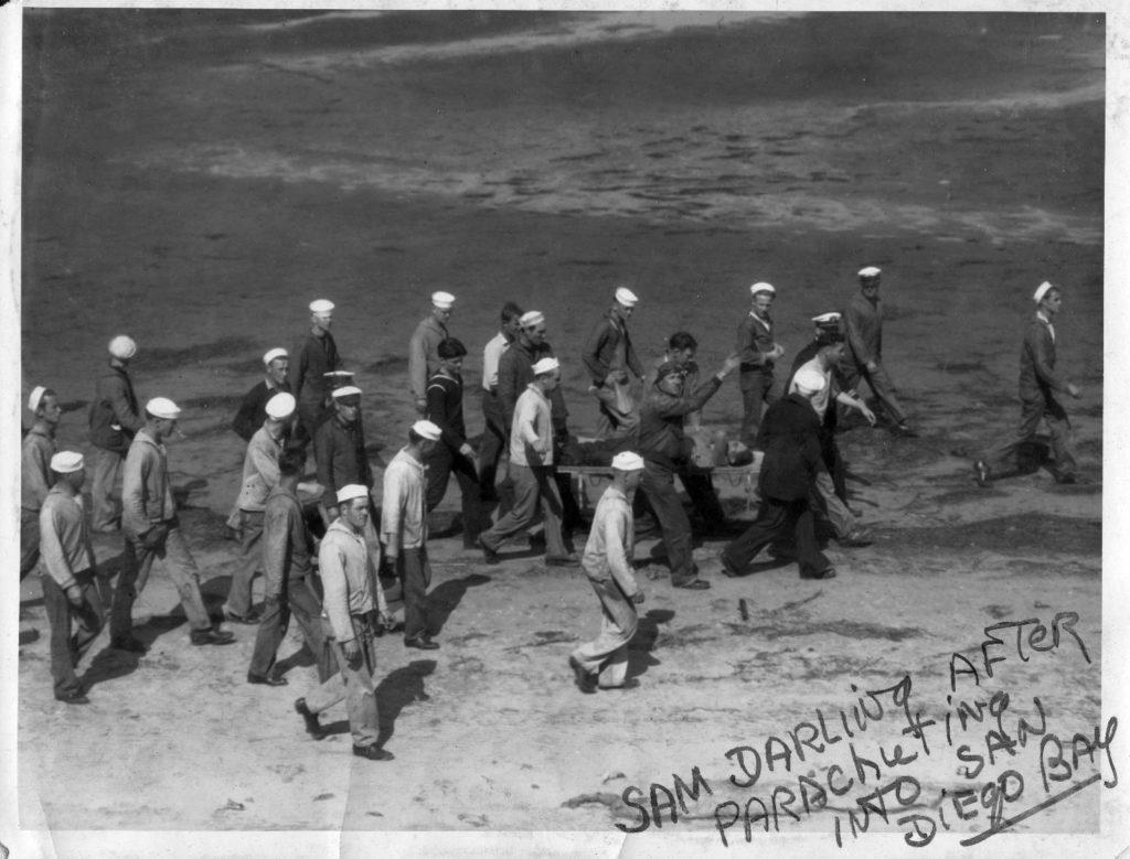 1097 - Sam Darling after parachuting into SD Bay