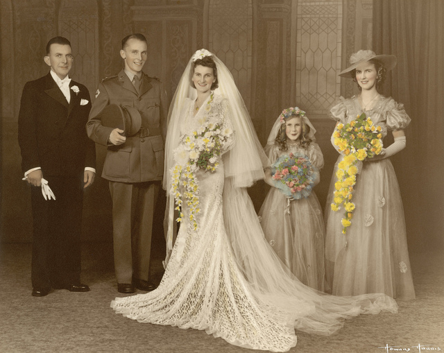 Norma Bissaker and Frank Bissaker on their wedding day, 1941