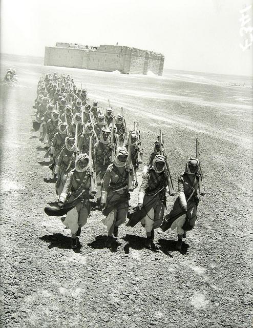 Troops at the Qasr Al Kharana fort, Jordan, during World War II