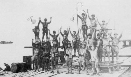 The Japanese 2d Division celebrates landing at Merak