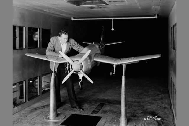 NACA Ames Research Center 7x10_foot Wind Tunnel test of the Douglas XSB2D-1 model ARC-1942-AAL-1986