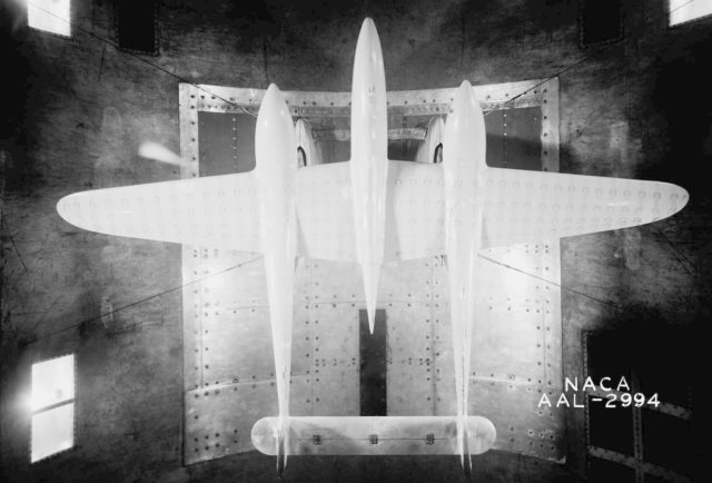 NACA Ames Photograpeher Lockheed P-38 model in 40x80ft w.t. with revised twisted wing at 11 deg. (tuft studies) ARC-1942-AAL-2994