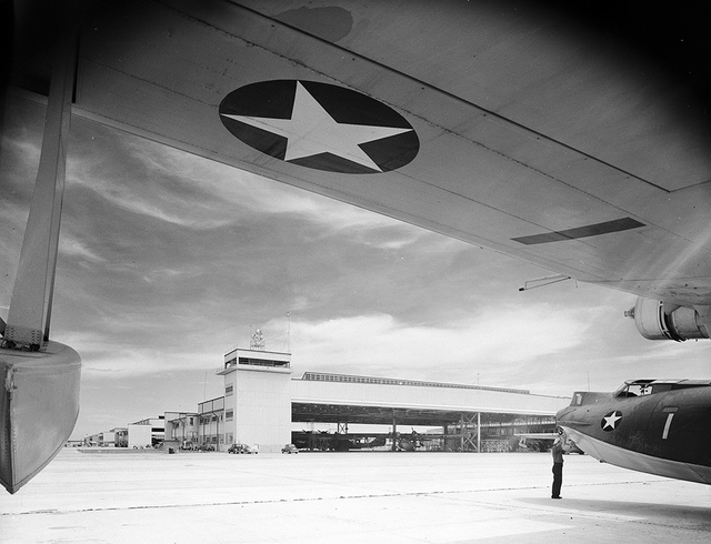 [Consolidated PBY-3 Catalina and Control Tower at Naval Air Station Corpus Christi, Bethlehem Steel Corporation]