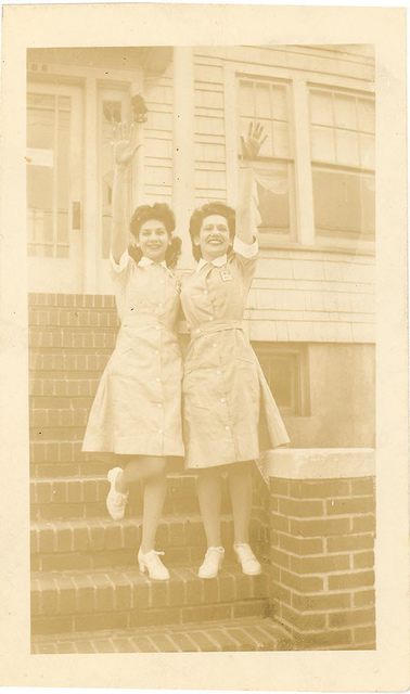 Libby and sister off to volunteer at the Barnett Hospital in Paterson, New Jersey