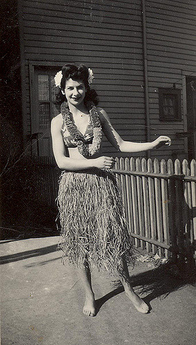 Libby Wolfberg in her Hawaiian outfit from Paul