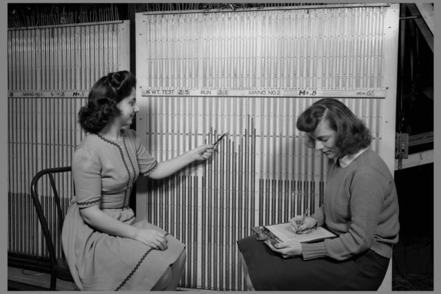 Computers reading from the Manometer Board of the 16 Foot Wind Tunnel.