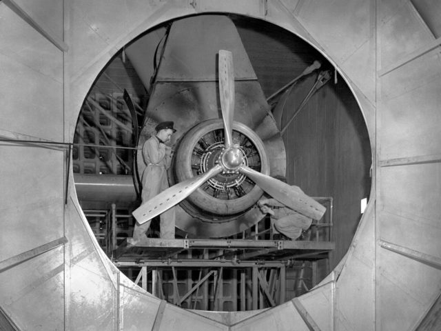 Wright R–2600–8 Engine in the Engine Propeller Research Building