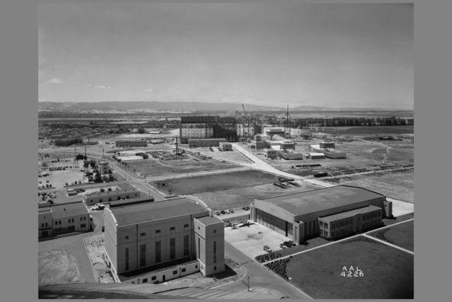 Panarama from Navy air ship dock showing NACA Ames grounds ARC-1943-AAL-4226