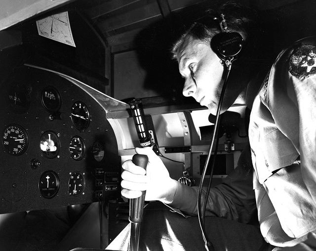 [Military Personnel Using Link Trainer with Kollsman Instrument Panel, Randolph Field]