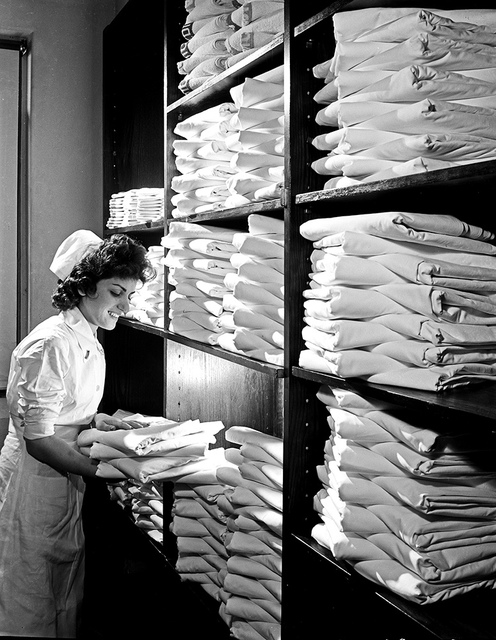 [Nurse in Hospital Linen Closet, Pepperell Manufacturing Company]